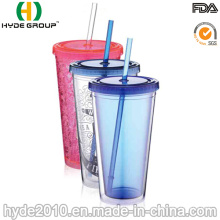 Vaso de plástico de pared doble sin BPA personalizado con paja (HDP-0019)