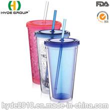 Tumbler plástico personalizado da parede dobro livre de BPA com palha (HDP-0019)