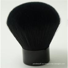Pelo sintético negro y mano de metal Kabuki maquillaje cepillo