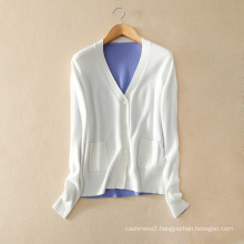 Ladies' single breasted elegant cardigan pure cashmere knitting cardigan double color stitched with O neck