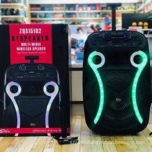 ZQS15102 Rechargeable Wireless Hot Sale Portable 15 Inch Karaoke Dj Speaker With Led Light