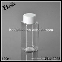 Botella de plástico de 120 ml, botella de plástico cuadrada transparente con tapón de rosca blanco