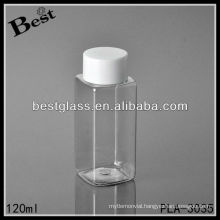 120ml plastic bottle, Clear square plastic bottle with white screw cap