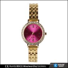 Reloj de encargo atractivo diamante del dial en reloj del bisel venda de acero inoxidable