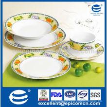 20pcs Round Hotel Vaisselle Articles avec divers décoration de fruits naturels