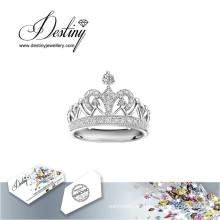 Destino joyería cristal de Swarovski anillo corona