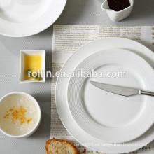 Plato de porcelana blanca de hotel y restaurante, Platos de vajilla seguros para microondas, Vajilla italiana de diseño de restaurante