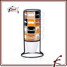 Langlebiger Porzellan-Tee Kaffeebecher 4er Set mit Eisenhalter