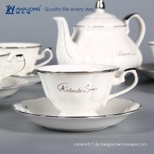 Arabische weiße Farbe prägnante Design Kaffee-Sets europäischen Porzellan Kaffeetasse gesetzt