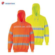 EN20471 Hi Vis sudadera con capucha clase 3, alta visibilidad seguridad Hoddie ropa de trabajo con cintas reflectantes
