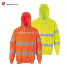 EN20471 Hi Vis Hooded Sweatshirt Class 3, High Visibility Safety Hoddie Workwear with Reflective Tapes