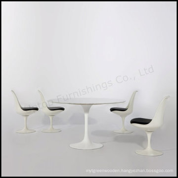 Pure Aluminum Base Marble Top Tulip Table with Chair (SP-CT393)