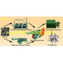 Cadena de producción duradera de alta velocidad del clavo de poco ruido que hace la fábrica automática de la máquina del clavo del alambre