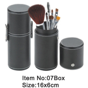 7pcs portable makeup brush with black PU cylinder box packing