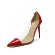 sexy shallow patent leather transparent pvc pointed toe stiletto heel dress shoes for women shoes