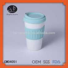 Caneca de viagem de cerâmica com tampa de silicone & envoltório, caneca de porcelana