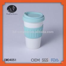 Кружка керамическая круглая с силиконовой крышкой и оберткой, фарфоровая кружка