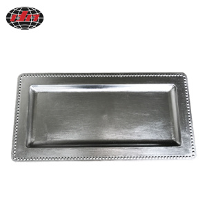 Rectangle Beads Plastic Plate with Metallic Finish