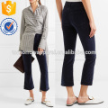 Velveteen Cropped Cotton-blend Velvet Flared Pants Manufacture Wholesale Fashion Women Apparel (TA3012P)