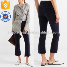 Velveteen Cropped Cotton-blend Velvet Flared Pants Manufacture Wholesale Fashion Women Apparel (TA3012P)