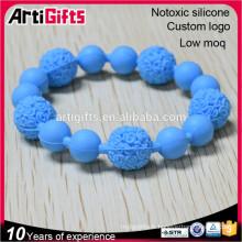 Mode perle bracelet bijoux élastique à facettes silicone élégant perle bracelet