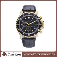 Montre-bracelet des hommes chauds d'alliage de vente avec la bande d'alliage ou la bande en cuir véritable