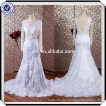 RSW611 Real Sample Factory Direto Sereia Transparente Corset Long Sleeve Vestidos de casamento de renda