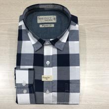 Male cvc yarn dyed checked long sleeve shirt