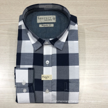 Male cvc yarn dyed checked long sleeve shirt