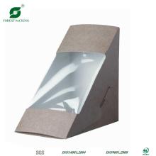 Caixa de embalagem de sanduíche triângulo com janela clara