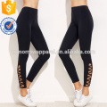 Black Lattice Hem Leggings OEM/ODM Manufacture Wholesale Fashion Women Apparel (TA7001L)