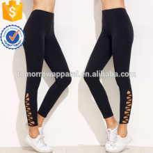 Black Lattice Saum Leggings OEM / ODM Herstellung Großhandel Mode Frauen Bekleidung (TA7001L)