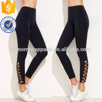 Leggings de malha preta Hem OEM / ODM fabricação atacado moda feminina vestuário (TA7001L)