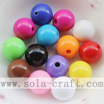 Large Selection of Mixed Color Acrylic Round Spacer Beads with 14MM for Jewelry Accessories