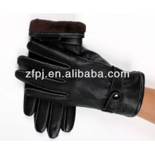 2016 new style black driving leather glove for mens