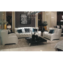 Divany en cuir Style moderne en cuir blanc canapé (LS-117 a + B + C)