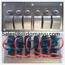 Interruptor de combinación de aluminio del panel del interruptor de eje de balancín del barco de 6 pandillas del LED LED