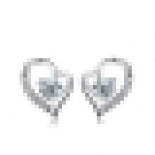 Women′s 925 Sterling Silver Fashion Elegant Heart-Shaped Crystal Earrings