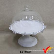 Cubierta de cristal de la vendimia Soporte de la torta del pedestal de la cena