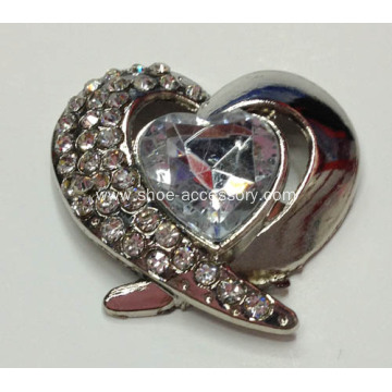 Charming Heart-Shaped Alloy Shoe Buckle for lady's Pumps