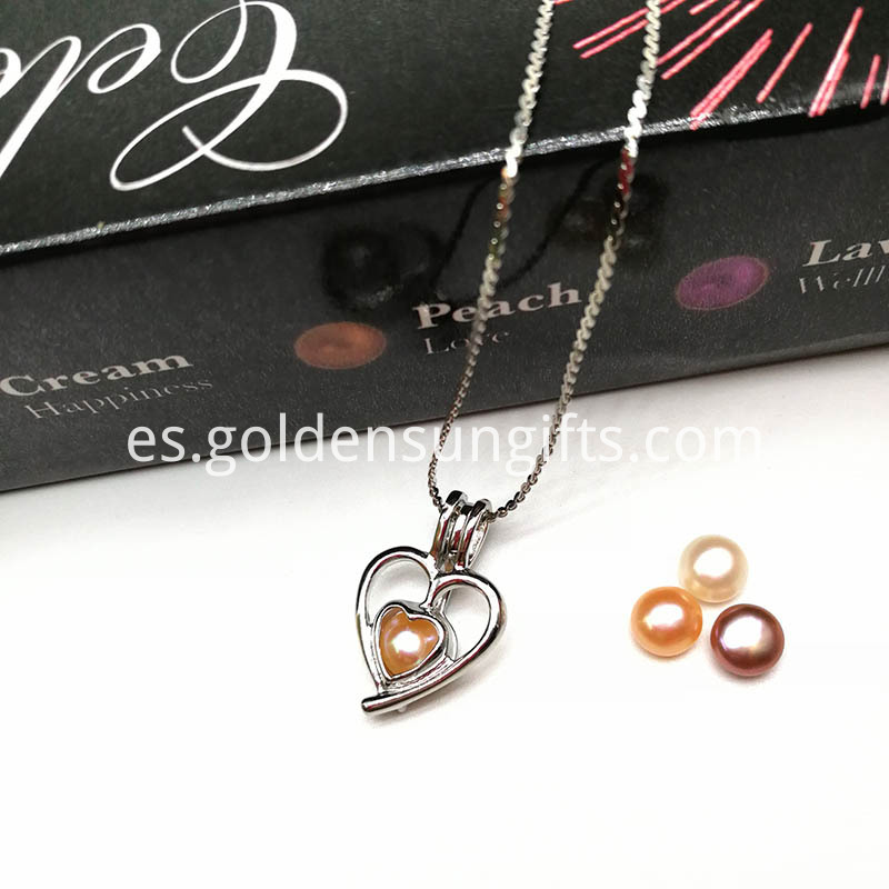 Double Heart Locket Pendant with Pearl Beads
