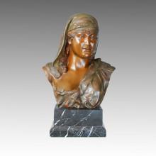 Бюсты Бронзовый скульптурный сад Арабская женская резьба Декорированная латунная статуя TPE-110