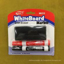 Whiteboard Marker Pen mit Pinsel 2 + 1, Dry Eraser Marker Pen Set W6312