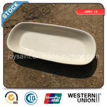 Stocked Ceramic 10′′ Rectangle Plate (white edge)