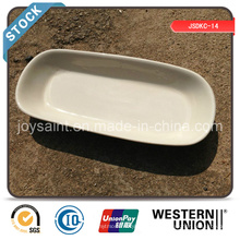 Stocked Ceramic 10 '' Rectangle Plate (borda branca)