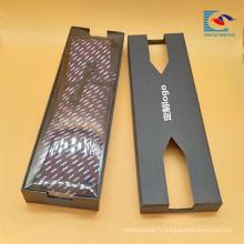 Vente chaude personnalisé noir impression logo rigide carton cravate cadeau emballage boîte