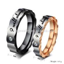 Barato personalizado suyo y ella promesa anillos de boda negro anillos, anillo personalizado joyería de pareja