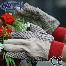 Luvas de trabalho de pano de algodão NMSAFETY com pontos de pvc preto na palma da mão