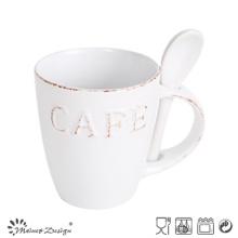 Tasse en céramique de 6oz avec cuillère et conception de mots en relief