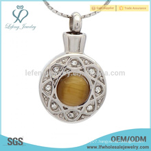 Stainless steel silver crystal locket ashes,memorial ashes cremation pendants jewelry